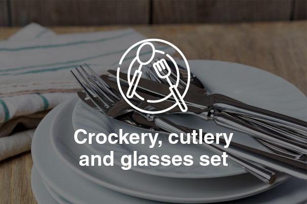 crockery cutlery glasses