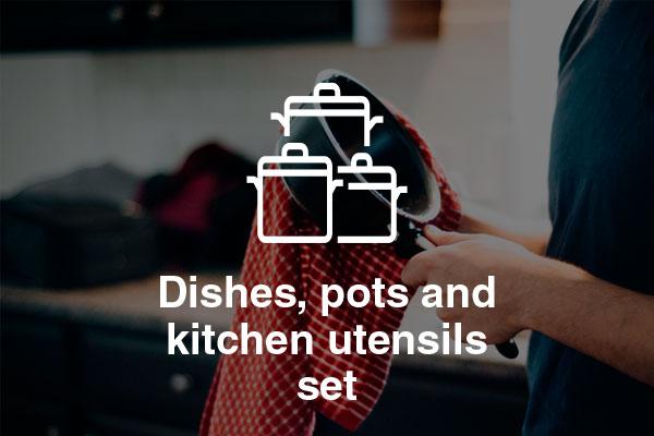 dishes pots kitchen utensils