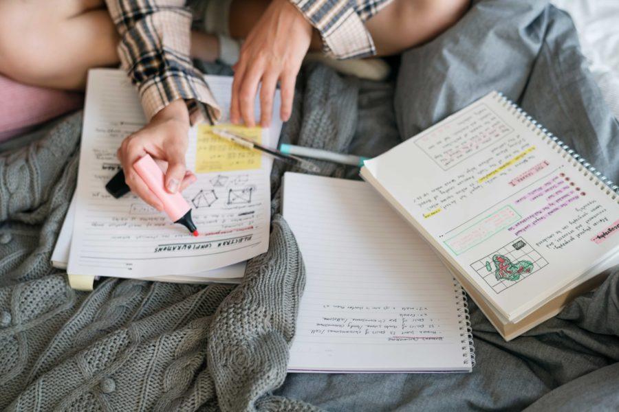 chica estudiando en la cama Grados con mas salidas laborales scaled 900x600 1